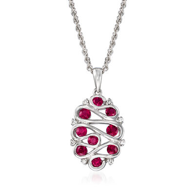 C. 2000 Vintage .75 ct. t.w. Ruby Swirl Pendant Necklace with Diamond Accents in 14kt White Gold, , default