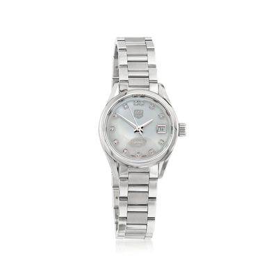 TAG Heuer Carrera 28mm Stainless Steel Watch with Diamonds - Mother-Of-Pearl Dial