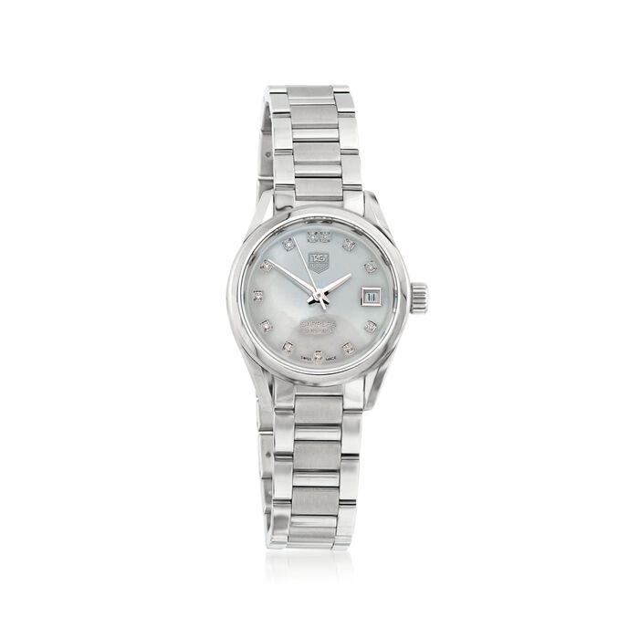 TAG Heuer Carrera 28mm Women's Stainless Steel Automatic Watch with Diamond Accent, , default