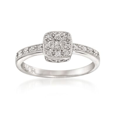 "ALOR ""Flamme Blanche"" .15 ct. t.w. Diamond Square Ring in 18kt White Gold, , default"