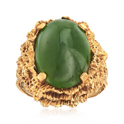 C. 1970 Vintage Green Nephrite Jade Ring in 14kt Yellow Gold, , default