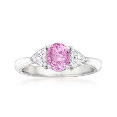 C. 2000 Vintage 1.33 Carat Certified Pink Sapphire Ring with .40 ct. t.w. Diamonds in Platinum