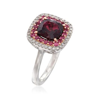 Gregg Ruth 2.70 Carat Garnet and .20 ct. t.w. Diamond Ring with Rhodolites in 18kt White Gold