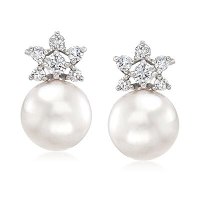 Mikimoto 8mm A+ Akoya Pearl and .22 ct. t.w. Diamond Earrings in 18kt White Gold