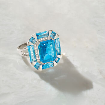 7.80 ct. t.w. Blue Topaz and .19 ct. t.w. Diamond Halo Ring in 14kt White Gold