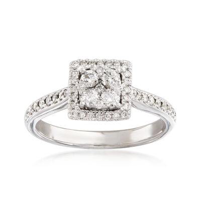 C. 1990 Vintage .65 ct. t.w. Diamond Cluster Square Ring in 14kt White Gold, , default