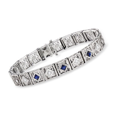 C. 1950 Vintage .75 ct. t.w. Simulated Sapphire and .25 ct. t.w. Diamond Bracelet in 14kt White Gold, , default