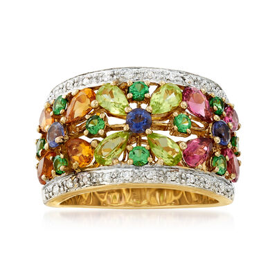 C. 1990 Vintage 2.56 ct. t.w. Multi-Gemstone Flower Ring in 14kt Yellow Gold, , default