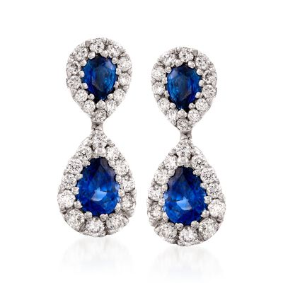 Gregg Ruth 1.76 ct. t.w. Sapphire and .80 ct. t.w. Diamond Earrings in 18kt White Gold, , default