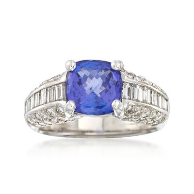 C. 1990 Vintage 2.25 Carat Tanzanite and 1.75 ct. t.w. Diamond Ring in 18kt White Gold, , default