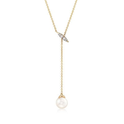 Gabriel Designs 7-7.5mm Cultured Pearl Necklace in 14kt Yellow Gold with Diamond Accents