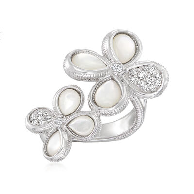 """Judith Ripka """"Jardin"""" Mother-Of-Pearl and .42 ct. t.w. Diamond Double-Flower Ring in Sterling Silver"""