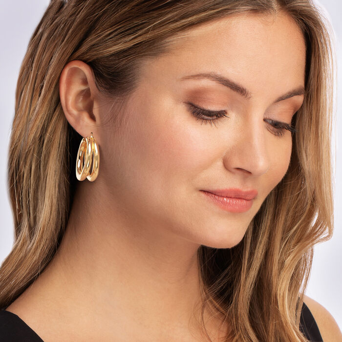 Roberto Coin 18kt Yellow Gold Thick Double-Hoop Earrings