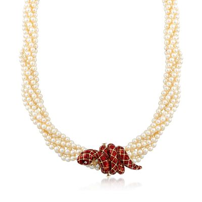 C. 1990 Vintage 4mm Cultured Pearl and Red Enamel Snake Torsade Necklace in 18kt Yellow Gold, , default