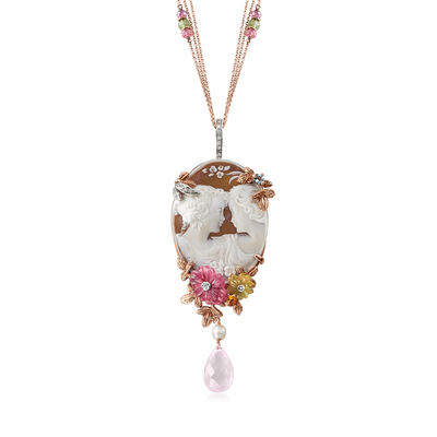 C. 1978 Vintage 7.60 ct. t.w. Multi-Gem Cameo Pin/Pendant Necklace in 18kt Rose Gold