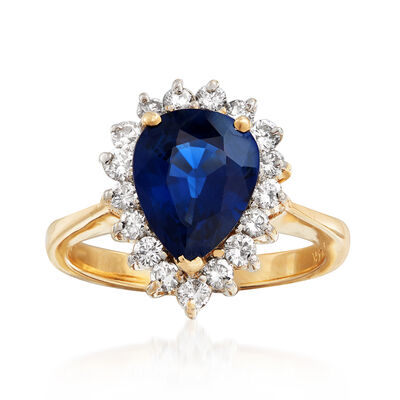 C. 1980 Vintage 2.40 Carat Sapphire and .51 ct. t.w. Diamond Ring in 14kt Yellow Gold, , default
