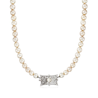 C. 1930 Vintage 6-10mm Cultured Pearl Necklace with .75 ct. t.w. Diamonds in 18kt White Gold