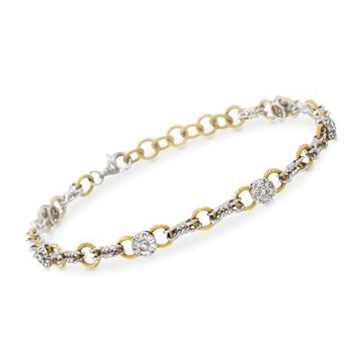Simon G. .70 ct. t.w. Diamond Station Link Bracelet in 18kt Two-Tone Gold, , default