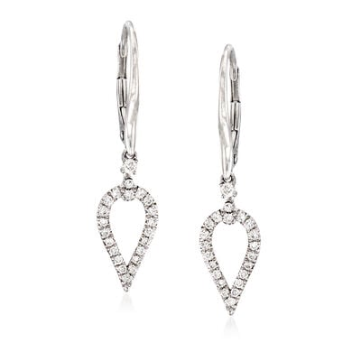 Gabriel Designs .27 ct. t.w. Diamond Open Teardrop Earrings in 14kt White Gold