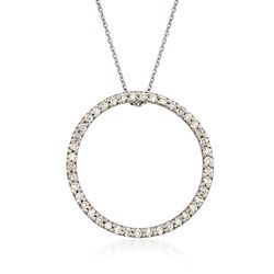 Roberto Coin .51 ct. t.w. Circle of Life Diamond Pendant Necklace in 18kt White Gold, , default