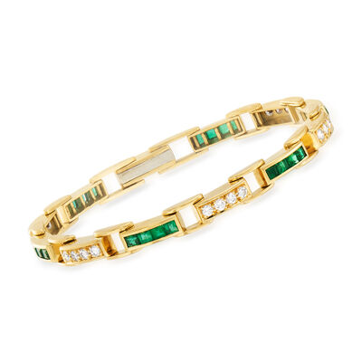 C. 1980 Vintage 2.90 ct. t.w. Emerald and 1.20 ct. t.w. Diamond Line Bracelet in 18kt Yellow Gold