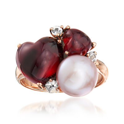 C. 1990 Vintage Mimi Milano 9.5mm Violet Cultured Pearl, 8.06 ct. t.w. Garnet and .30 ct. t.w. White Sapphire Heart Ring in 18kt Rose Gold, , default