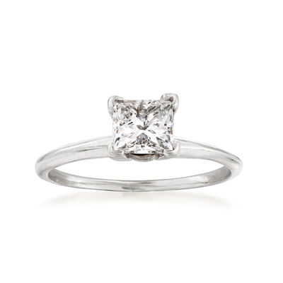 C. 1990 Vintage .75 Carat Diamond Solitaire Ring in 14kt White Gold, , default