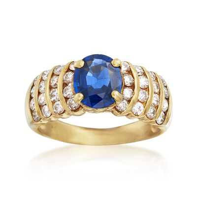 C. 1990 Vintage 1.55 Carat Sapphire and .85 ct. t.w. Diamond Ring in 18kt Yellow Gold, , default