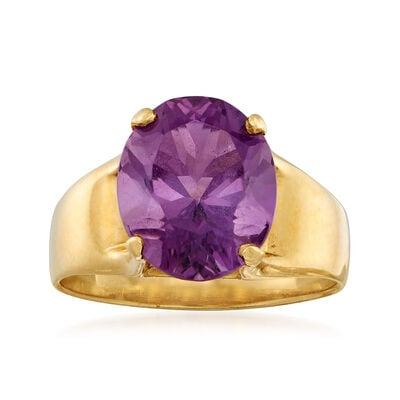 C. 1980 Vintage 5.00 Carat Amethyst Ring in 14kt Yellow Gold