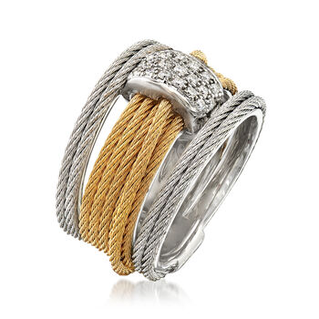 """ALOR """"Classique"""" .16 ct. t.w. Diamond Two-Tone Cable Ring with 18kt White Gold. Size 7, , default"""