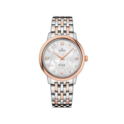 Omega De Ville Prestige Butterfly Women's 32.7mm Stainless Steel and 18kt Rose Gold Watch with Diamonds