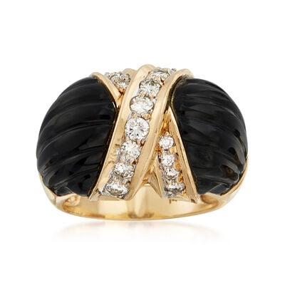 C. 1980 Vintage Onyx and .70 ct. t.w. Diamond X Ring in 14kt Yellow Gold, , default