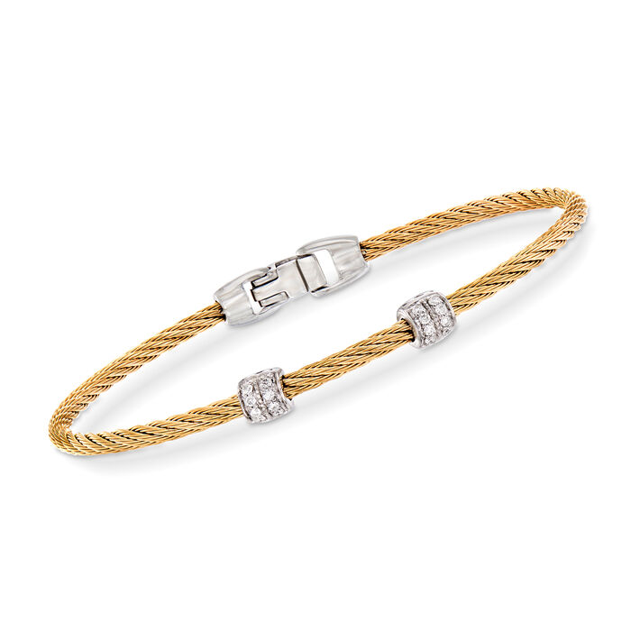 """ALOR """"Classique"""" .13 ct. t.w. Diamond Yellow Stainless Steel Cable Bracelet with 18kt White Gold. 7"""", , default"""
