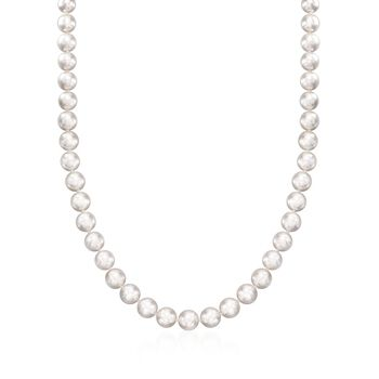 "Mikimoto Akoya Pearl Necklace, Bracelet and Studs Set in 18-Karat White Gold. 18"", , default"