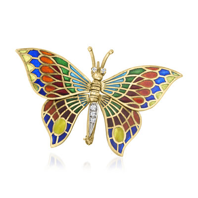 C. 1940 Vintage .15 ct. t.w. Diamond and Multicolored Enamel Butterfly Pin in 14kt Yellow Gold