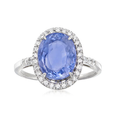 C. 1990 Vintage 5.92 Carat Certified Ceylon Sapphire and .38 ct. t.w. Diamond Ring in 18kt White Gold