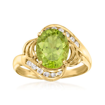 C. 1990 Vintage 3.00 Carat Peridot Ring with .20 ct. t.w. Diamonds in 14kt Yellow Gold