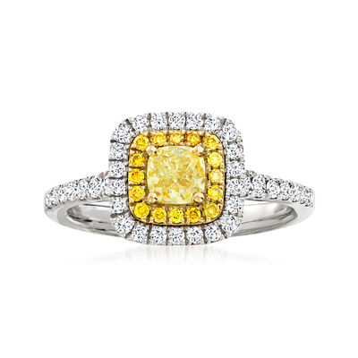C. 2000 Vintage .57 ct. t.w. Yellow Diamond and .50 ct. t.w. Diamond Halo Ring in 18kt White Gold