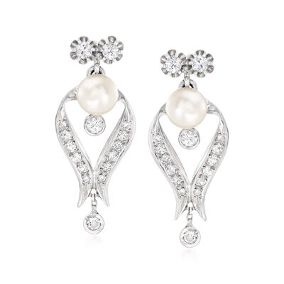 C. 1940 Vintage 7.5mm Cultured Pearl and 1.20 ct. t.w. Diamond Drop Earrings in 14kt White Gold, , default