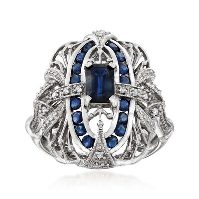 C. 1990 Vintage 1.30 ct. t.w. Sapphire and .15 ct. t.w. Diamond Filigree Ring in 14kt White Gold, , default