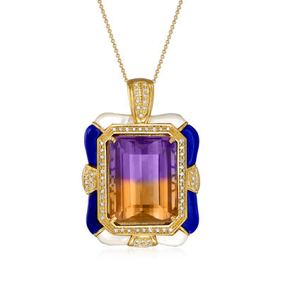 C. 1980 Vintage 48.82 Carat Ametrine, .63 ct. t.w. Diamond and Blue and White Enamel Pendant Necklace in 18kt Yellow Gold, , default