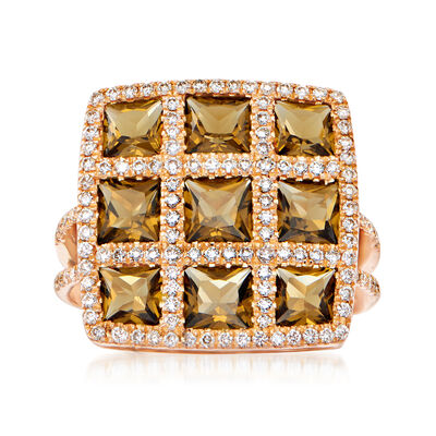 C. 2000 Vintage 2.54 ct. t.w. Smoky Quartz and .54 ct. t.w. Diamond Cocktail Ring in 18kt Rose Gold