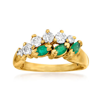 C. 1990 Vintage .50 ct. t.w. Diamond and .30 ct. t.w. Emerald Ring in 14kt Yellow Gold, , default