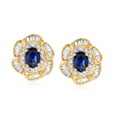 C. 1980 Vintage 2.10 ct. t.w. Sapphire and .80 ct. t.w. Diamond Floral Earrings in 14kt Yellow Gold, , default