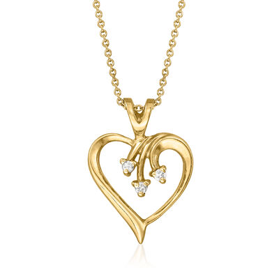 C. 1990 Vintage 14kt Yellow Gold Heart Pendant Necklace with Diamond Accents