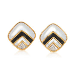 C. 1980 Vintage Black Onyx and .55 ct. t.w. Diamond Earrings With Mother-Of-Pearl in 18kt Gold, , default