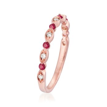 Henri Daussi .14 ct. t.w. Ruby Wedding Ring with Diamond Accents in 14kt Rose Gold, , default