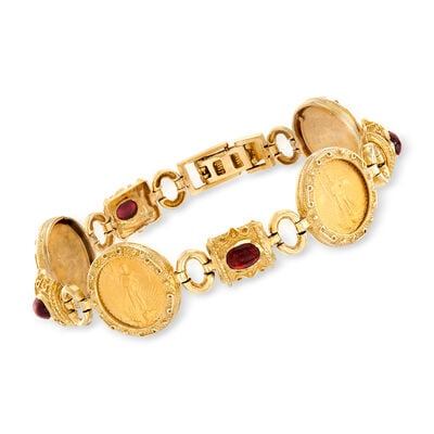 C. 1990 Vintage 4.00 ct. t.w. Garnet and 22kt Yellow Gold Coin Bracelet in 14kt Yellow Gold