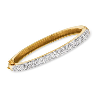 C. 1980 Vintage 2.50 ct. t.w. Diamond Bangle Bracelet in 14kt Yellow Gold, , default