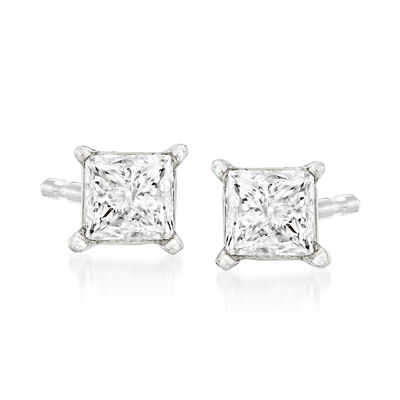 C. 1990 Vintage .96 ct. t.w. Diamond Stud Earrings in 14kt White Gold